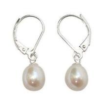 8-9mm White Akoya Cultured Pearl Sterling Leverback Drop Earrings PE232