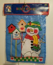 New Nce Mini Flag Country Snowman w/ pole!