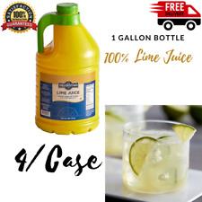 New 4 Pack 100% Lime Juice 1 Gallon Bottle Bottles Drink Mixers Bars Restaurants