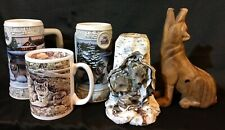 LOT of 5 White Grey Gray Wolf Wolves Collection Wood Carved Call Wax Candle Mugs