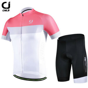 CHEJI Bike Clothing Short Set Men's Cycling Jersey and Paded Bicycle Shorts Kit