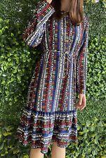 RESERVE MISS SHOP amazing Printed Fluted Hem Long Sleeve Vintage Dress 10