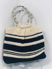 Worthington Crochet Knit Purse Hand Bag Beaded Handles Beige/Black InnerPockets