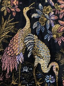 Vintage Italian Silk Tapestry Lamp Table Cover Egrets Pelicans Signed Italy