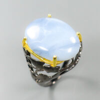Natural Blue Opal 925 Sterling Silver Ring Size 6/RR17-1572