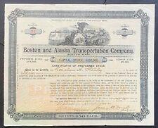 BOSTON & ALASKA TRANSPORTATION Stock 1898. Klondike Steamboats. James McNaught