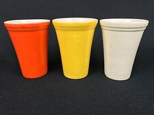 Red Wing Pottery THREE Vintage 4 3/4 Inch Tumblers Orange Yellow Ivory