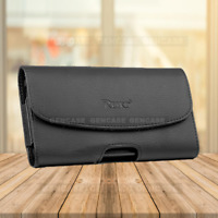 BLACK LEATHER RUGGED CELL PHONE CASE POUCH HOLSTER CLIP BELT LOOP CARRYING COVER