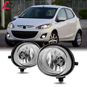For Mazda 2 10-15 Clear Lens Pair Bumper Fog Light Lamp Replacement Bulbs
