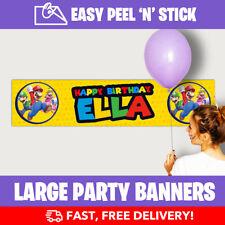 Super Mario Personalised Birthday Party Banner (110cm x 25cm) - Low Price!