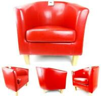 BONDED LEATHER RED TUB CHAIR ARMCHAIR DINING LIVING ROOM OFFICE RECEPTION