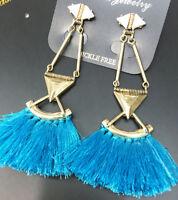 Handmade Blue Crystal Ear Drop Dangle Stud Ancient Gold long Tassels Earrings