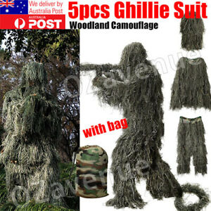 Ghillie Suit 5Pcs Woodland Camouflage Hunting Archery Sniper Clothing