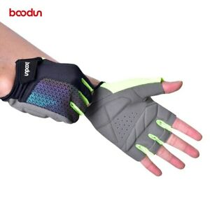 Boodun Day/Night Reflective Cycling Gloves MTB Road Bicycle Half Finger Gloves