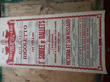 LIEGE BELGIQUE THEATRE ROYAL OPERA BELLE AFFICHE DE 72 CMS SUR 36 CMS 1953 1954