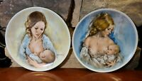 """Set 2 Royal Bayreuth Germany """"Mothers Day 1977"""" """"Mothers Day 1975"""" Plates"""