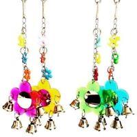 Parrot Pet Toys Parrot Bird Flower Mirror Budgie hanging Toy Bell Gift G9C