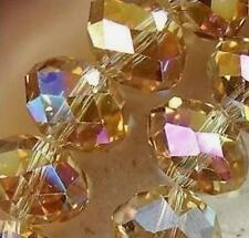 A Hot Faceted Crystal Beads  Crafts Glass Rondelle Jewelry Bicone AB Yellow 6MM