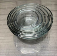 Vintage Anchor Hocking Set of 5 Clear Glass Nesting Bowls Prep Mixing Cups USA
