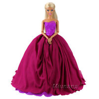 Princess Evening Party Clothes Gown Train Wedding Dress Outfit For Barbie Doll
