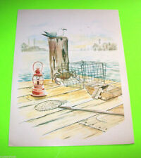 Vintage Sea Gull Art Print w/ Crab Trap By Dock Side T Rex Nautical Bay Seaside