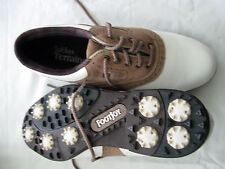 Womens Footjoy Softjoy Terrains Sz 6M White & Tan Oxford 98308 EUC