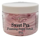 SWEET PEA Exfoliating Foaming Sugar Body Scrub, 10 oz jar