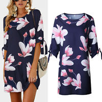 Women Floral Loose Ladies Short Mini Tunic Dress Long Tops Casual Party Cocktail