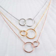 Stainless Steel Friendship Eternity Necklace Double Circle Interlocking Infinity