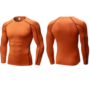 Mens Compression Under Shirt Base Layer Tops Thermal Sports Gym Fitness T-Shirts