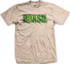 Brasil Distressed Letters Brazilian Football Team Soccer Bra Br Go Men's T-Shirt
