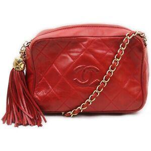 Chanel Shoulder Bag  Reds Lamb Leather 2400313