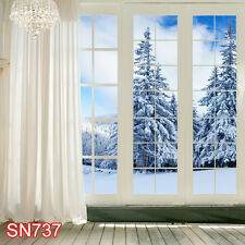 XMAS Indoor Winter Snow 8x8 FT CP  PHOTO SCENIC BACKGROUND BACKDROP SN737