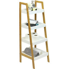 HARTLEYS WHITE & BAMBOO 4 TIER LADDER BATHROOM SHELVES/STORAGE UNIT ORGANISER