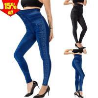 ✅ Damen Skinny Hose Jeans-Look Leggings Stretch Röhre Treggings Jeggings Leggins