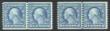 U.S. #496 Mint NH Pair & Line Pair - 5c Blue, Rotary Coil ($82)