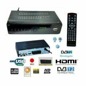 DECODER RICEVITORE DIGITALE TERRESTRE DVB-T2 T3 H265 USB SCART HDMI TELECOMANDO
