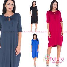 Ladies Casual Half Sleeve Plus Size Baggy Tunic Crew Neck Oversized Dress FM44
