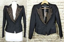 TOV Holy G Studded Lapel Black Lightweight Blazer Jacket 38 Small 4 US NWT Punk