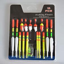15pcs/Set Assorted Sizes Fishing Lure Floats Bobbers Slip Drift Tube Indicator