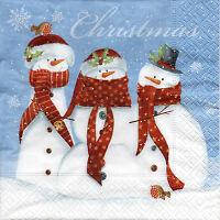 4 Motivservietten Servietten Napkins Tovaglioli Weihnachten Schneemänner (949)