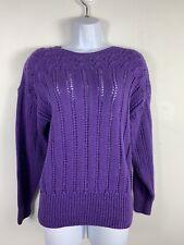 Vintage Evan Piccone Petite Womens Sweater Sz Ps Purple Pullover Casual Pk19