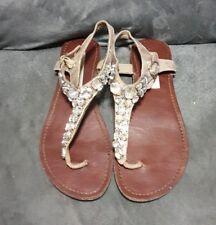 Steve Madden GROOM Metallic Gold Rhinestone Bling Sandal Size 6.5 Gladiator Flat