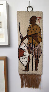 handmade wool wallhanging, from Africa, Zulu, vintage, 41 x 16 cm