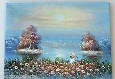 tableau décoration chambre enfant bébé fleurs eau peinture huile toile TBE 40cm