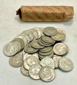 United States Mint Full Roll of 90% Silver 1932 - 1964 Washington Quarters (40)