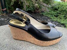 Michael Kors Sandals Black Leather Wedge Size 8.5M casual Dress Boho Retro ECU
