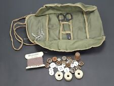 Vintage Military Army Sewing Kit Buttons Needles Thread Scissors Thimble Case