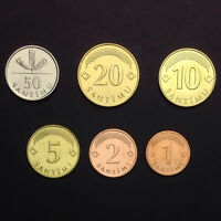 [L-2] Latvia Set Lot 6 Coins,1 2 5 10 20 50 Santimu , 2008-2009, UNC