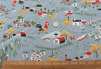 "Vintage c1940s Printed Farm Yard American Conversational Cotton Fabric~21"" X 34"""